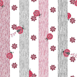 Crayon Lady Bugs Stripes with Flowers Red Grey