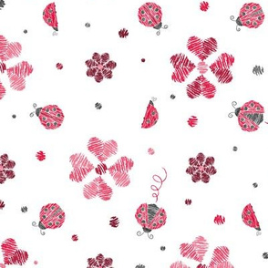 Crayon Lady Bugs with flowers Red Grey