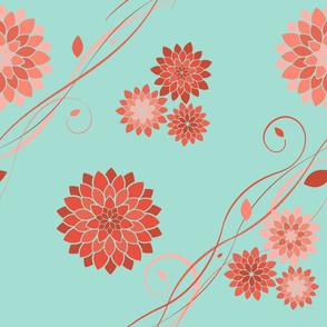 Dahlia Flowers Mint Coral