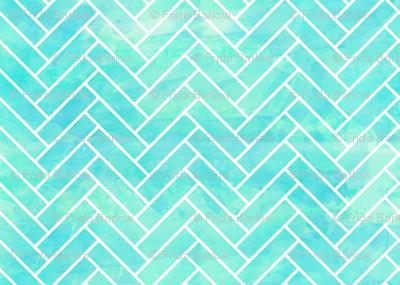 Seamless Watercolor Herringbone Tile aqua