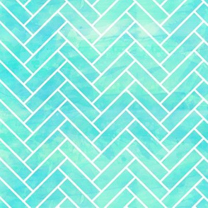 Seamless Watercolor Herringbone Tile aqua