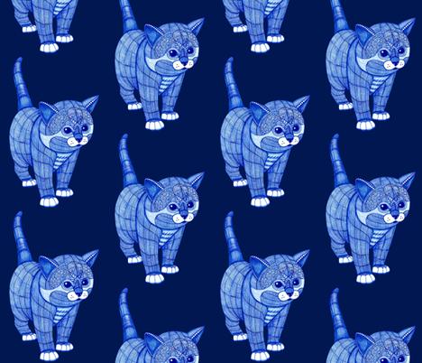 Kitty-Blue fabric by magicmamahandmade on Spoonflower - custom fabric