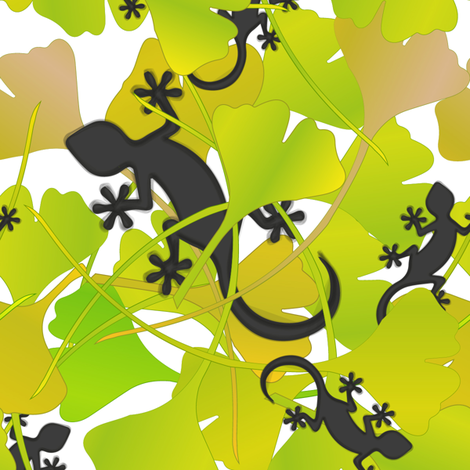 lizard & ginko fabric by artminx on Spoonflower - custom fabric