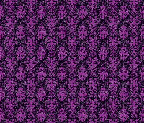 Skull & Tentacle in Hard Neon halfsize fabric by damousey on Spoonflower - custom fabric