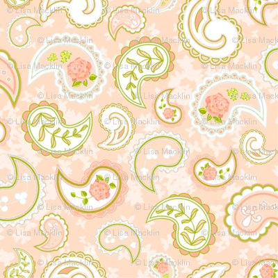 Coral Rose Paisley