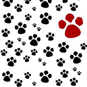 Paw Prints  LG - red black