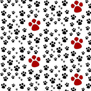 Paw Prints  SMALL - red black