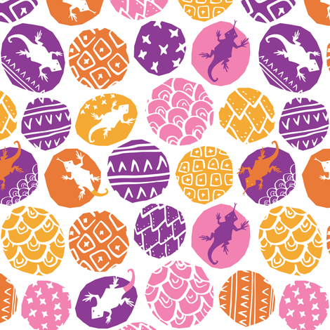 Lively Lizards - Pop of Purple fabric by tonia_dee on Spoonflower - custom fabric
