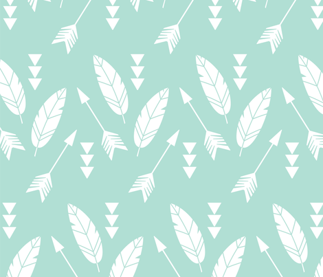 Bohemian feathers and arrows fabric by bluelela on Spoonflower - custom fabric