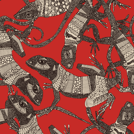 just lizards red fabric by scrummy on Spoonflower - custom fabric