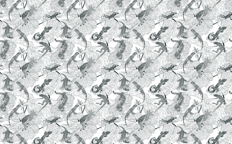 Zentangle Lizards. fabric by art_on_fabric on Spoonflower - custom fabric