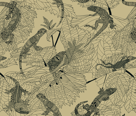 Luverly_Lizards_monochrome_sand fabric by house_of_heasman on Spoonflower - custom fabric