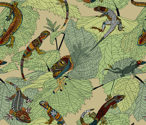 Luverly_zentangled_painted_lizards_on_painted_leaves fabric by house_of_heasman on Spoonflower - custom fabric