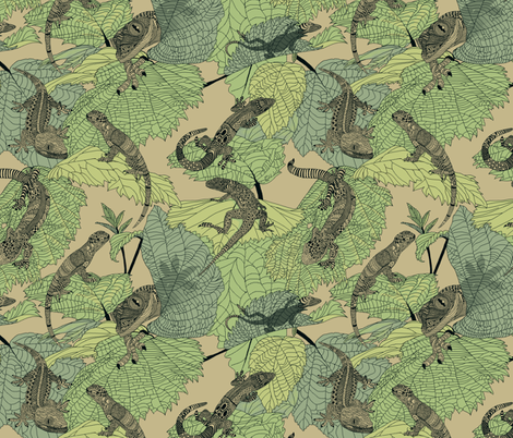 Luverly_zentangled_lizards_on_painted_leaves fabric by house_of_heasman on Spoonflower - custom fabric
