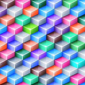 Glowing isometric cubes