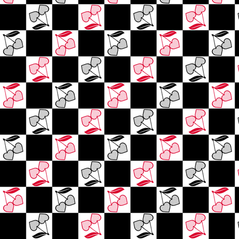 Cherry Hearts Checker Black White Red fabric by wickedrefined on Spoonflower - custom fabric