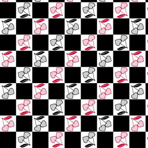 Cherry Hearts Checker Black White Red