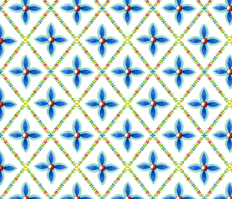 Elizabethan Lattice on white fabric by patriciasheadesigns on Spoonflower - custom fabric