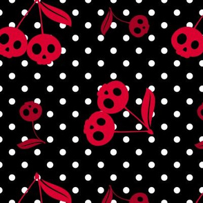 Dots with Cherry Skulls Black White Red