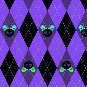 Evil But Cute Argyle Violet Green Turquoise