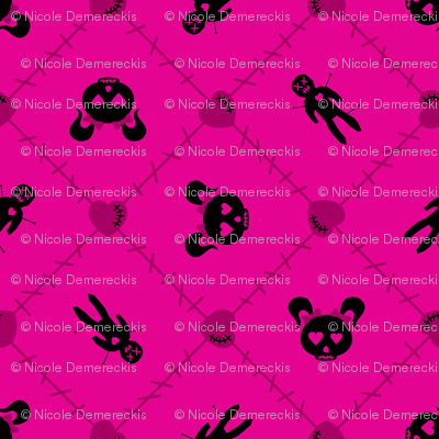 Evil But Cute Voodoo Pink Black
