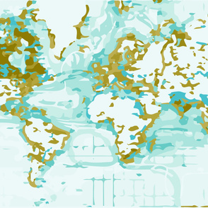 Aqua Map Blanket