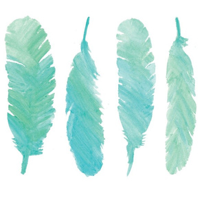 Blue Watercolor Feathers