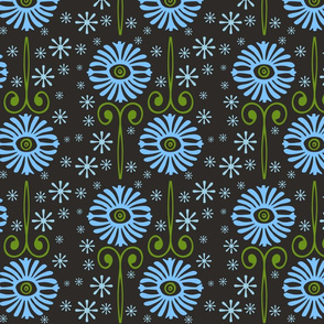 Retro Blue Flowers