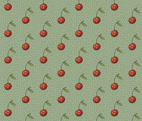 Cherry on Sage Polka Dots fabric by aspenartsstudio on Spoonflower - custom fabric