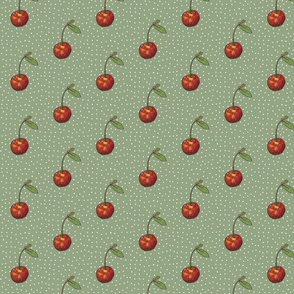 Cherry on Sage Polka Dots