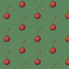 Cherry on Emerald Polkas