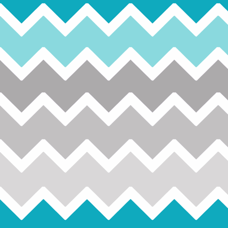 Turquoise Aqua Teal Blue Grey Gray Ombre Chevron fabric by decamp_studios on Spoonflower - custom fabric