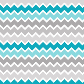 Turquoise Aqua Teal Blue Grey Gray Ombre Chevron