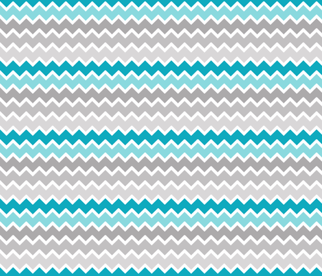 Turquoise aqua teal blue grey gray ombre chevron fabric for Teal chevron wallpaper