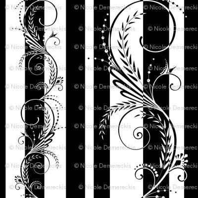 Stripes with Scrolls Black White