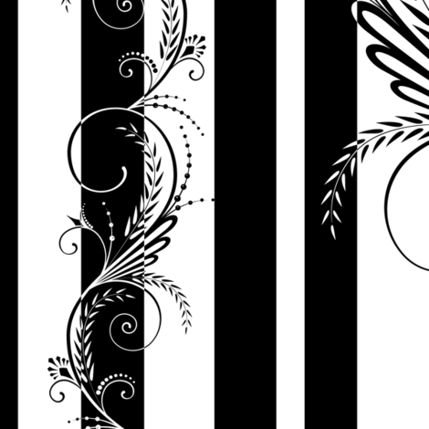 Stripes with Scrolls Black White fabric by wickedrefined on Spoonflower - custom fabric