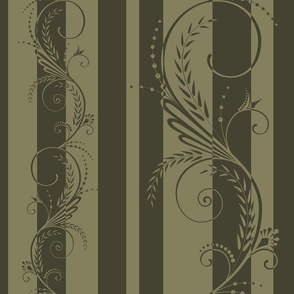 Stripes with Scrolls Herb Green