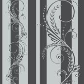 Stripes with Scrolls Glacier Gray