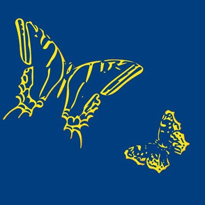 Large Butterflies on Dark Blue