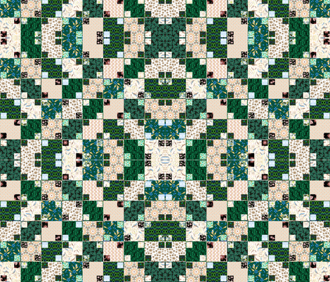 Green and Cream Illusion Cheater, Mirror fabric by eclectic_house on Spoonflower - custom fabric