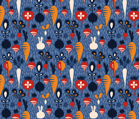 Roots feeling blue fabric by verycherry on Spoonflower - custom fabric