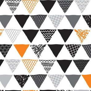 Geometric tribal aztec triangle orange tangerine modern patterns