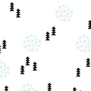 Scandinavian style christmas trees geometric woodland print in black and white