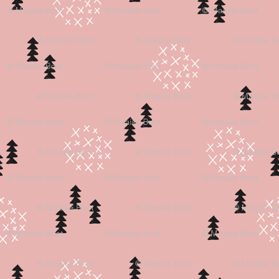 Scandinavian style christmas trees geometric woodland print in black and white and pink