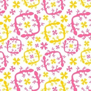 Fleur de lizard pink and yellow