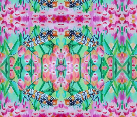 Moth on Pink Salt-marsh Fleabane-ed fabric by theartfuljane on Spoonflower - custom fabric