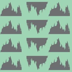 Castle Silhouette -  Green & Grey