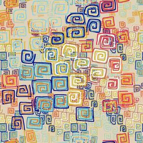 Square Spirals -cozy colors