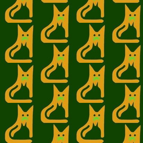 Cat Kitten Gold Green