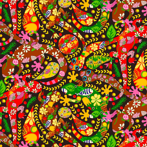 Lizard Fiesta! fabric by orangefancy on Spoonflower - custom fabric